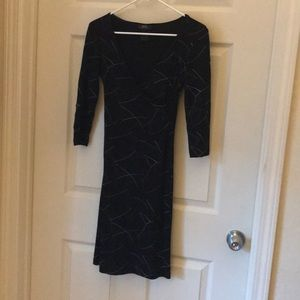BCBG wrap dress•black w- grey/purple detail•Small